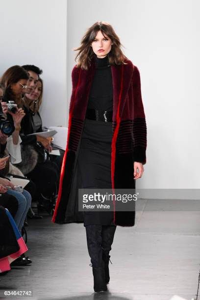 Model walks the runway at the Pamella Roland fashion show during New York Fashion Week at Pier 59 on February 10 2017 in New York City