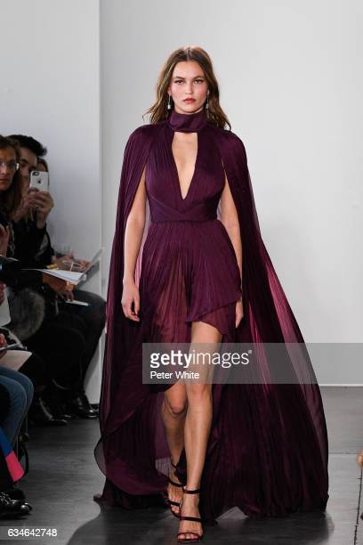 A model walks the runway at the Pamella Roland fashion show during New York Fashion Week at Pier 59 on February 10 2017 in New York City