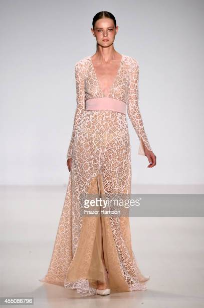 A model walks the runway at the Pamella Roland fashion show during MercedesBenz Fashion Week Spring 2015 at The Salon at Lincoln Center on September...