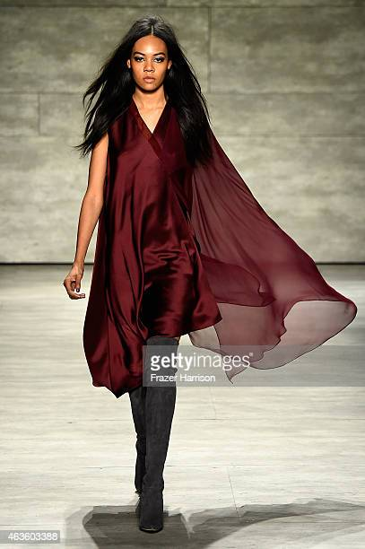Model walks the runway at the Pamella Roland fashion show during Mercedes-Benz Fashion Week Fall 2015 at The Pavilion at Lincoln Center on February...