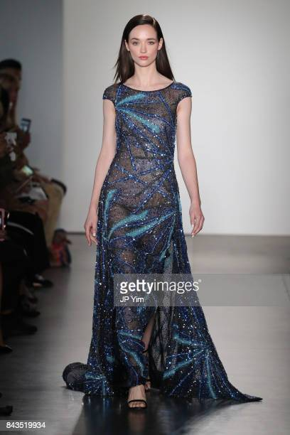 Model walks the runway at the Pamella Roland Spring 2018 Collection during New York Fashion Week at Pier 59 on September 6, 2017 in New York City.