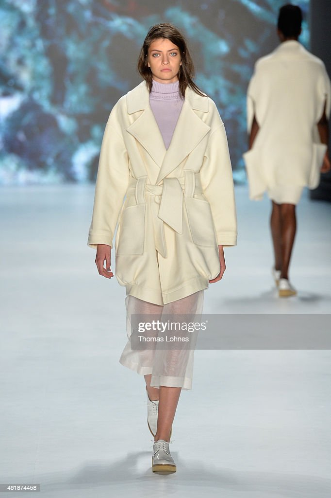 A model walks the runway at the Paper London presented by Mercedes-Benz and Elle show during the Mercedes-Benz Fashion Week Berlin Autumn/Winter 2015/16 at Brandenburg Gate on January 21, 2015 in Berlin, Germany.