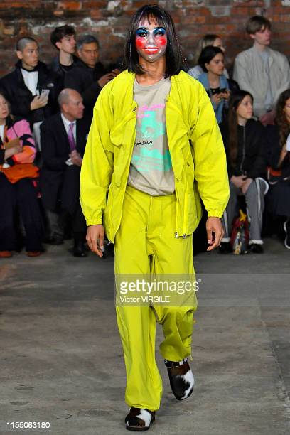 A model walks the runway at the Paria Farzaneh Ready to Wear Spring/Summer 2020 fashion show during London Fashion Week Men's June 2019 on June 10...