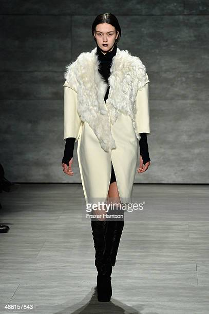 Model walks the runway at the Parkchoonmoo fashion show during Mercedes-Benz Fashion Week Fall 2014 at The Pavilion at Lincoln Center on February 9,...