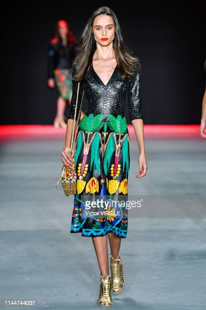Model walks the runway at the Patricia Viera fashion show during Sao Paulo Fashion Week N47 Summer 2020 on April 23, 2019 in Sao Paulo, Brazil.