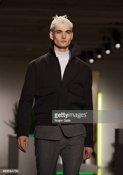 A model walks the runway at the Patrik Ervell fashion show during MercedesBenz Fashion Week Fall 2015 at Milk Studios on February 16 2015 in New York...