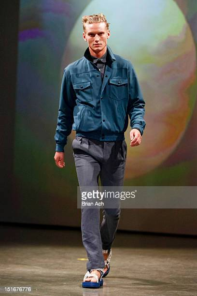A model walks the runway at the Patrik Ervell spring 2013 fashion show during MercedesBenz Fashion Week at Milk Studios on September 9 2012 in New...