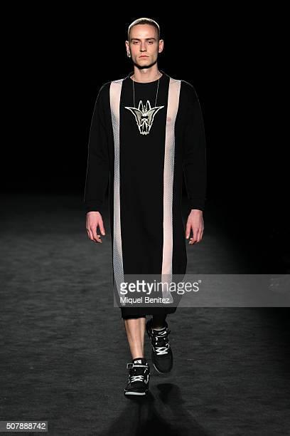 Model walks the runway at the Pau Esteve show during the Barcelona 080 Fashion Week Autumn/Winter 2016/2017 at Casa Llotja de Mar on February 1, 2016...