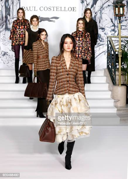 A model walks the runway at the Paul Costelloe Presentation during London Fashion Week February 2018 at The Waldorf Hilton Hotel on February 19 2018...