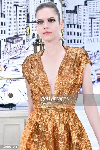 A model walks the runway at the Paul Costelloe Ready to Wear Fall/Winter 20202021 fashion show during London Fashion Week on February 17 2020 in...