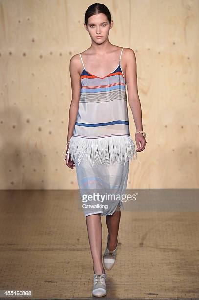 A model walks the runway at the Paul Smith Red Label Spring Summer 2015 fashion show during London Fashion Week on September 14 2014 in London United...