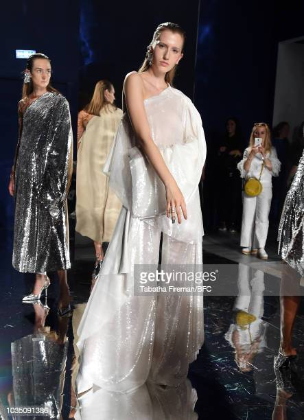 Model walks the runway at the Paula Knorr presentation during London Fashion Week September 2018 at the BFC Show Space on September 17, 2018 in...