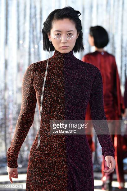 Model walks the runway at the Paula Knorr show during London Fashion Week February 2020 on February 17, 2020 in London, England.