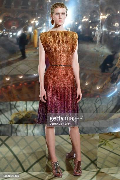 A model walks the runway at the Paule Ka Ready to Wear fashion show as part of the Paris Fashion Week Womenswear Fall/Winter 2017/2018 on February 28...