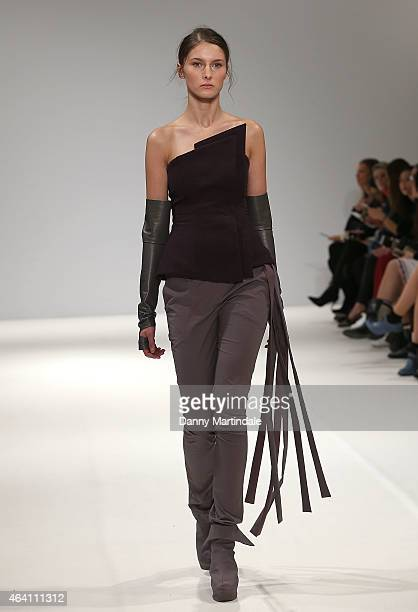 A model walks the runway at the Pentatonica Kiev Fashion Days show during London Fashion Week Fall/Winter 2015/16 at Fashion Scout Venue on February...