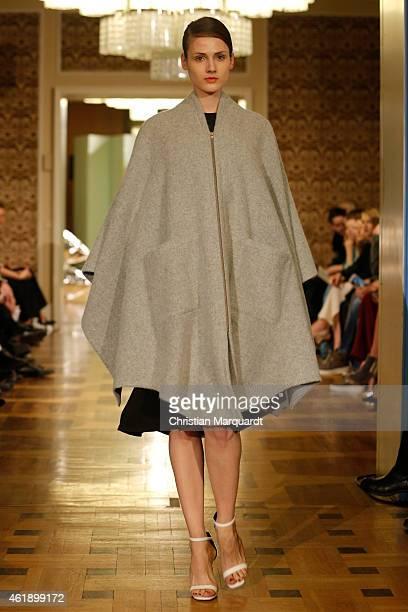 A model walks the runway at the Perret Schaad Show during the MercedesBenz Fashion Week Berlin Autumn/Winter 2015/16 at Kronprinzenpalais on January...