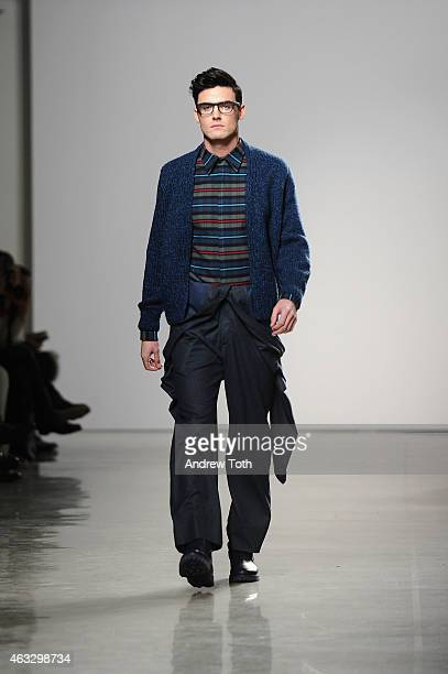 A model walks the runway at the Perry Ellis fashion show during New York Fashion Week at Metropolitan West on February 12 2015 in New York City