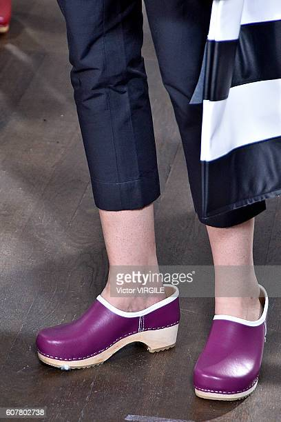 A model walks the runway at the Peter Jensen show during London Fashion Week Spring/Summer collections 2016/2017 on September 17 2016 in London...