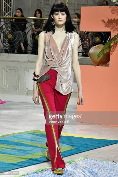 A model walks the runway at the Peter Pilotto Ready to Wear Fall Winter 20172018 fashion show during the London Fashion Week February 2017...