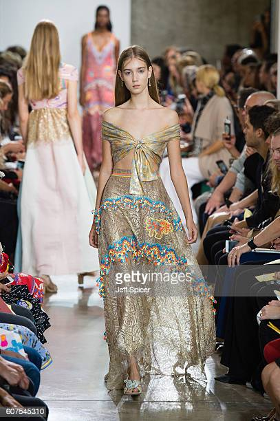A model walks the runway at the Peter Pilotto show during London Fashion Week Spring/Summer collections 2017 on September 18 2016 in London United...