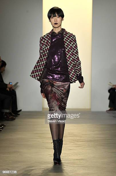 A model walks the runway at the Peter Som Fall 2010 Fashion Show during MercedesBenz Fashion Week at Milk Studios on February 13 2010 in New York City
