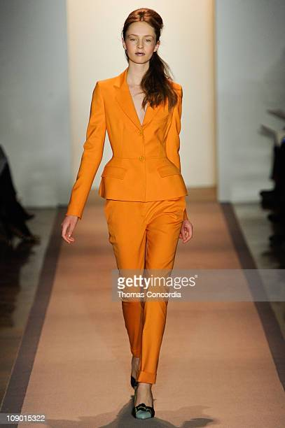 Model walks the runway at the Peter Som Fall 2011 fashion show during Mercedes-Benz Fashion Week at Milk Studios on February 11, 2011 in New York...