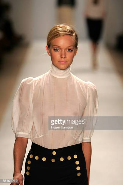 A model walks the runway at the Peter Som Spring 2006 fashion show at Bryant Park September 14 2005 in New York City