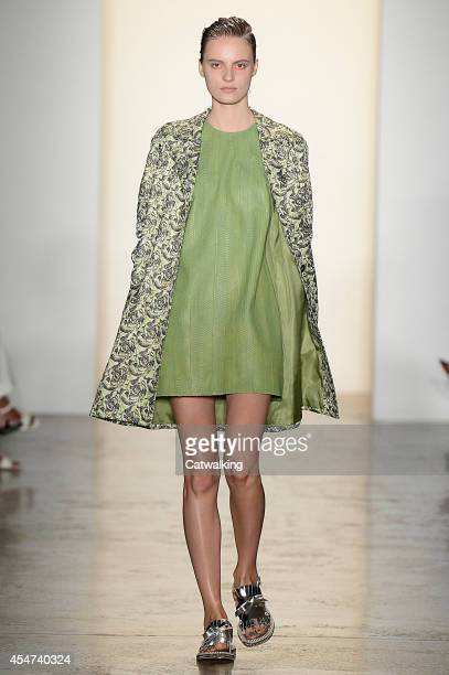 A model walks the runway at the Peter Som Spring Summer 2015 fashion show during New York Fashion Week on September 5 2014 in New York United States