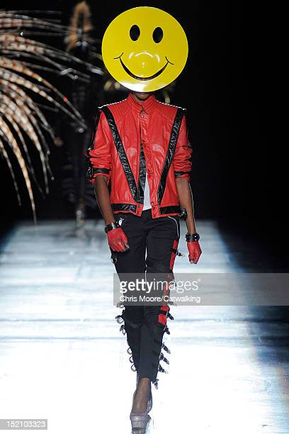 Model walks the runway at the Philip Treacy Spring Summer 2013 fashion show during London Fashion Week on September 16, 2012 in London, United...