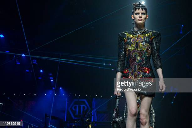 Model walks the runway at the Philipp Plein fashion show during Milan Men's Fashion Week Spring/Summer 2020 on June 15, 2019 in Milan, Italy.