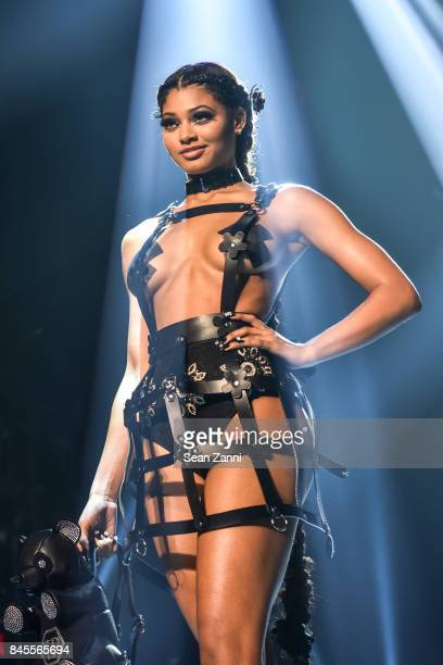 A model walks the runway at the Philipp Plein fashion show during New York fashion week at Hammerstein Ballroom on September 9 2017 in New York City