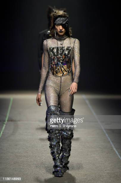 Model walks the runway at the Philipp Plein fashion show during the Milan Men's Fashion Week Spring/Summer 2020 on June 15, 2019 in Milan, Italy.