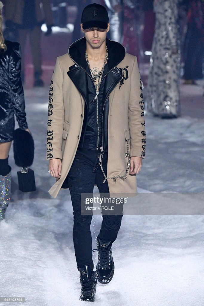A model walks the runway at the Philipp Plein Ready to Wear Fall/Winter 2018-2019 Fashion Show during New York Fashion Week on February 10, 2018 in New York City.