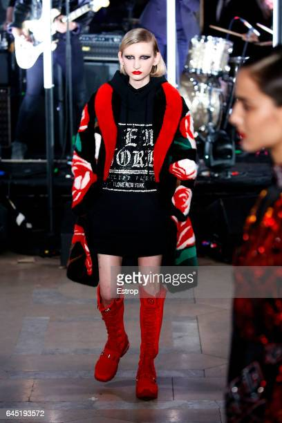 A model walks the runway at the Philipp Plein show during the New York Fashion Week February 2017 collections on February 13 2017 in New York City