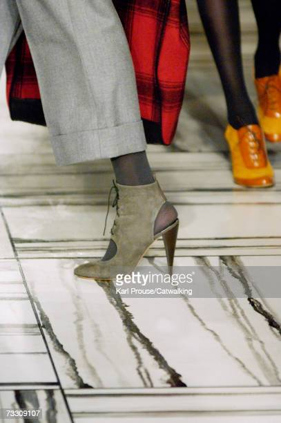Model walks the runway at the Phillip Lim Fall 2007 fashion show at Waterfrount Building during Mercedes-Benz Fashion Week February 4, 2007 in New...