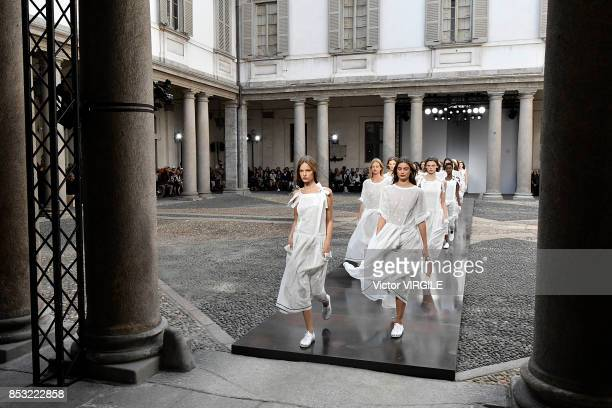 A model walks the runway at the Philosophy By Lorenzo Serafini Ready to Wear Spring/Summer 2018 fashion show during Milan Fashion Week Spring/Summer...