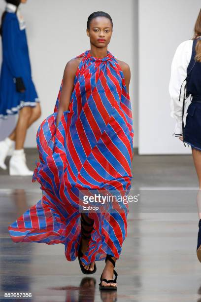 A model walks the runway at the Philosophy By Lorenzo Serafini show during Milan Fashion Week Spring/Summer 2018 on September 23 2017 in Milan Italy