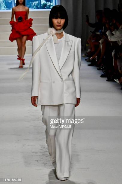 A model walks the runway at the Philosophy di Lorenzo Ready to Wear fashion show during Milan Fashion Week September 2019 at Italy on September 21...