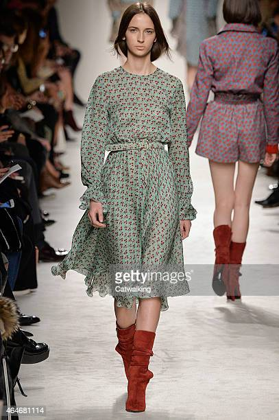 A model walks the runway at the Philosophy di Lorenzo Serafini Autumn Winter 2015 fashion show during Milan Fashion Week on February 27 2015 in Milan...