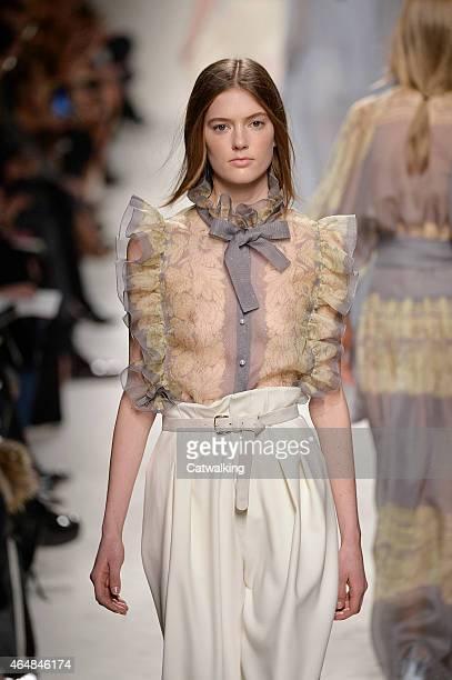 A model walks the runway at the Philosophy di Lorenzo Serafini Autumn Winter 2015 fashion show during Milan Fashion Week on February 27 2015 in Milan...