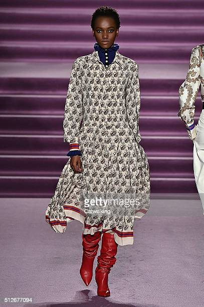 A model walks the runway at the Philosophy di Lorenzo Serafini Autumn Winter 2016 fashion show during Milan Fashion Week on February 27 2016 in Milan...