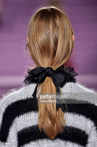 A model walks the runway at the Philosophy di Lorenzo Serafini fashion show during Milan Fashion Week Fall/Winter 2016/2017 on February 27 2016 in...