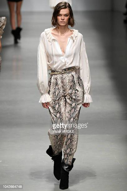 A model walks the runway at the Philosophy Di Lorenzo Serafini Ready to Wear fashion show during Milan Fashion Week Spring/Summer 2019 on September...