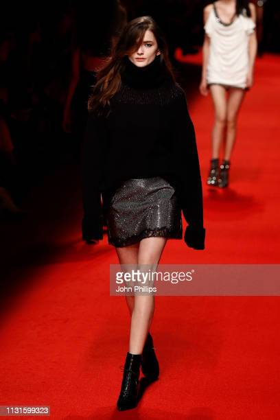 A model walks the runway at the Philosophy Di Lorenzo Serafini show at Milan Fashion Week Autumn/Winter 2019/20 on February 23 2019 in Milan Italy