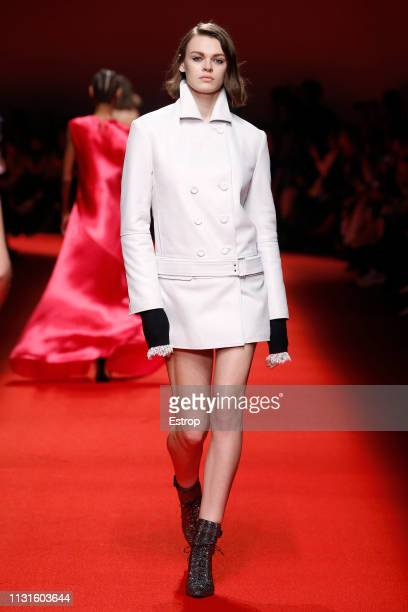 A model walks the runway at the Philosophy Di Lorenzo Serafini show at Milan Fashion Week Autumn/Winter 2019/20 on February 20 2019 in Milan Italy