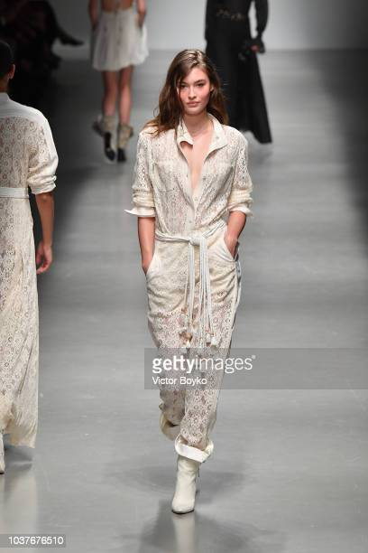 A model walks the runway at the Philosophy Di Lorenzo Serafini show during Milan Fashion Week Spring/Summer 2019 on September 22 2018 in Milan Italy