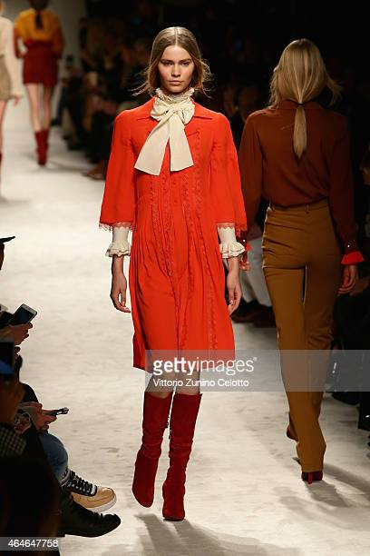 A model walks the runway at the Philosophy Di Lorenzo Serafini show during the Milan Fashion Week Autumn/Winter 2015 on February 27 2015 in Milan...