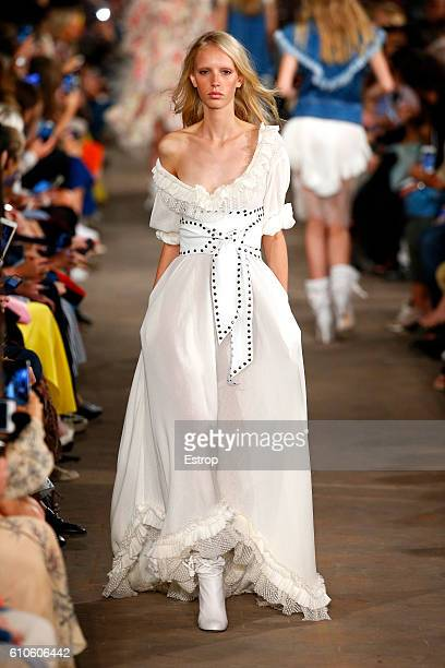 A model walks the runway at the Philosophy Di Lorenzo Serafini show Milan Fashion Week Spring/Summer 2017 on September 24 2016 in Milan Italy