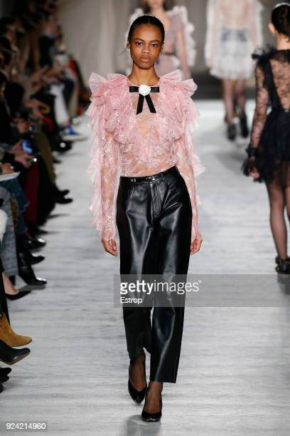 A model walks the runway at the Philosophy Di Lorenzo Serafini show during Milan Fashion Week Fall/Winter 2018/19 on February 24 2018 in Milan Italy