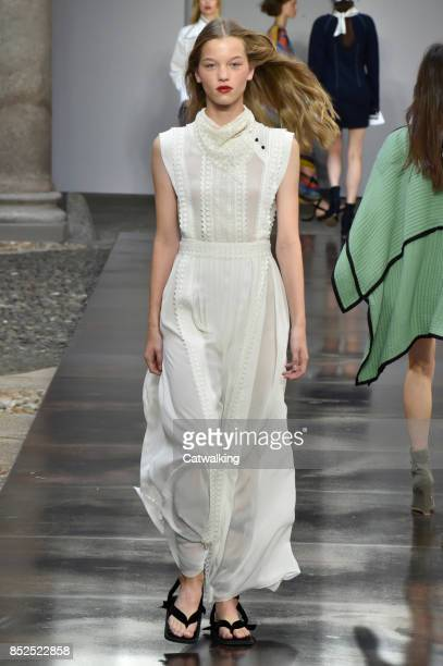 A model walks the runway at the Philosophy di Lorenzo Serafini Spring Summer 2018 fashion show during Milan Fashion Week on September 23 2017 in...